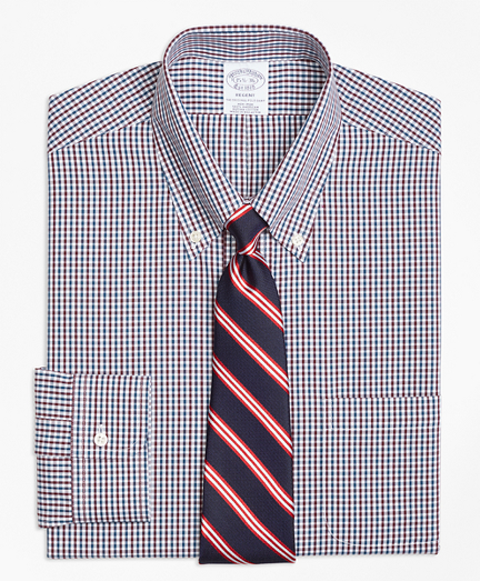 Regent Fitted Dress Shirt, Non-Iron Two-Color Gingham