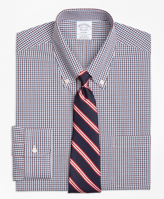 Regent Fitted Dress Shirt, Non-Iron Two-Color Gingham Green-Burgundy