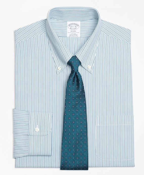 Regent Fitted Dress Shirt, Non-Iron Framed Double Stripe Green