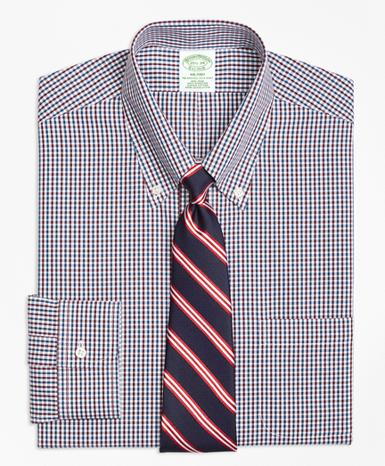 Milano Slim-Fit Dress Shirt, Non-Iron Two-Color Gingham