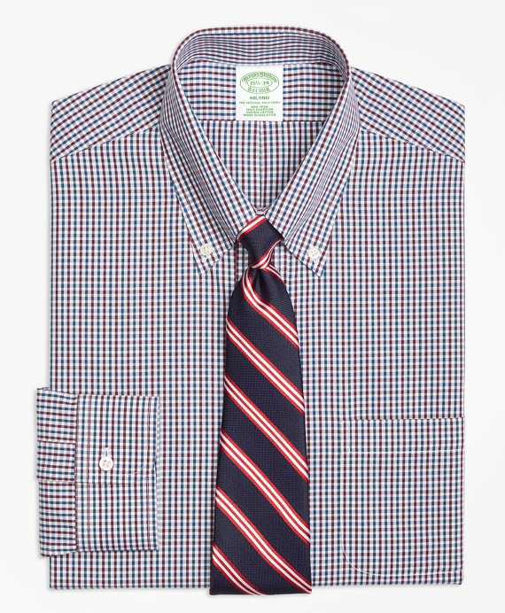 Milano Slim-Fit Dress Shirt, Non-Iron Two-Color Gingham Green-Burgundy