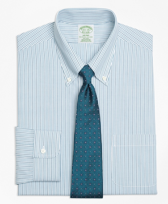 Milano Slim-Fit Dress Shirt, Non-Iron Framed Double Stripe Green