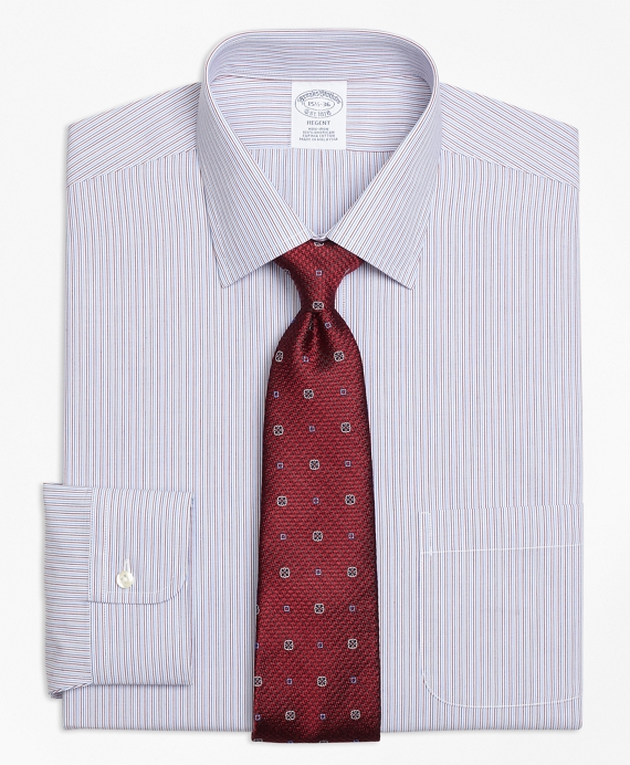 Regent Fitted Dress Shirt, Non-Iron Narrow Stripe Red-Blue