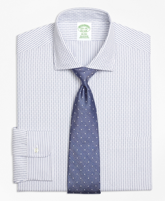 Milano Slim-Fit Dress Shirt, Non-Iron Dobby Candy Stripe Blue