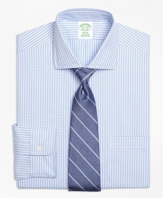 Milano Slim-Fit Dress Shirt, Non-Iron Dobby Windowpane Blue