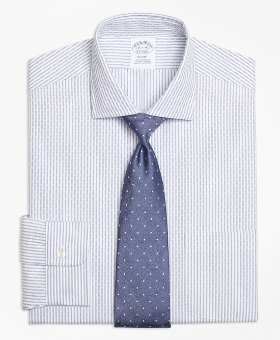 Regent Fitted Dress Shirt, Non-Iron Dobby Candy Stripe Blue
