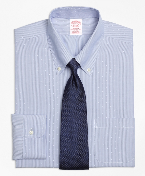 Madison Classic-Fit Dress Shirt, Non-Iron Dobby Hairline Stripe Blue