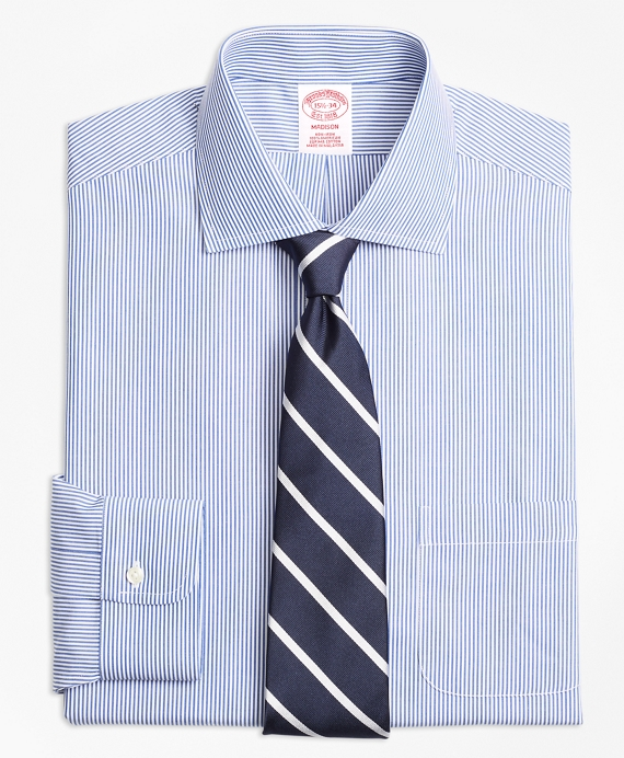 Madison Relaxed-Fit Dress Shirt, Non-Iron Candy Stripe Blue