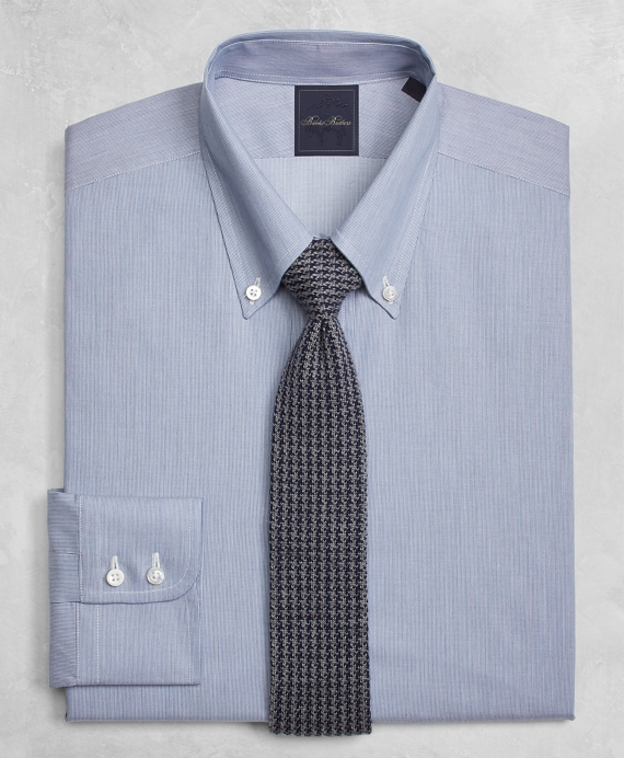 Golden Fleece® Milano Slim-Fit Dress Shirt, Button-Down Collar Micro-Ground-Stripe Blue