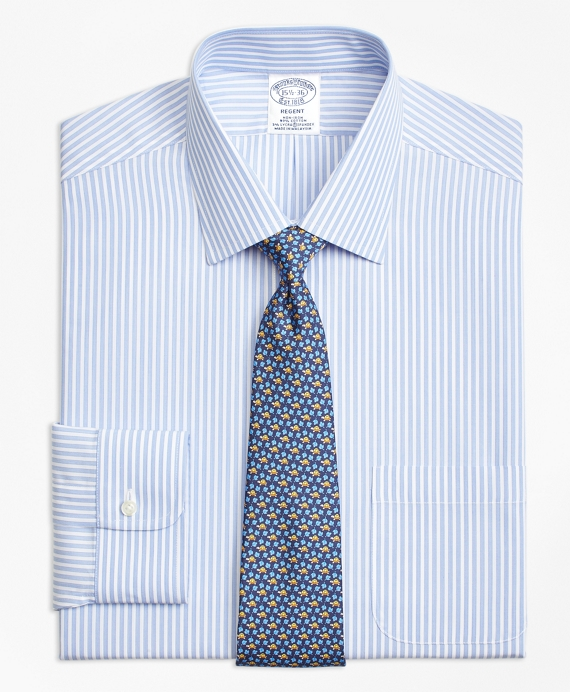 Stretch Regent Fitted Dress Shirt, Non-Iron Music Stripe Blue