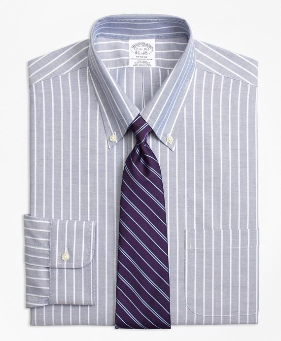 BrooksCool® Regent Regular-Fit Dress Shirt, Non-Iron Ground Shadow Stripe Navy