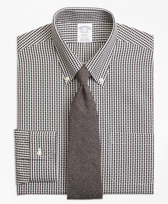Regent Fitted Dress Shirt, Non-Iron Dobby Gingham Black