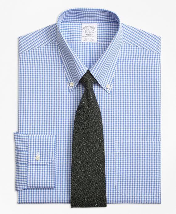 Regent Regular-Fit Dress Shirt, Non-Iron Dobby Gingham Blue