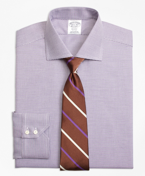 Regent Fitted Dress Shirt, Non-Iron Houndstooth Purple