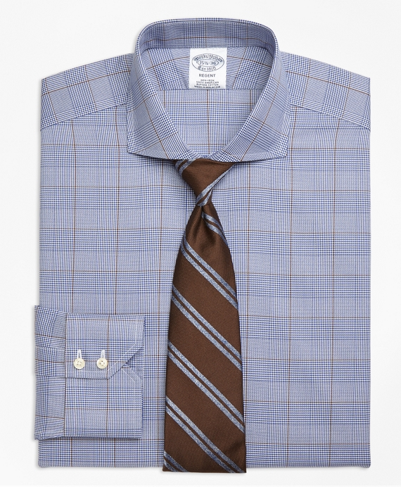 Regent Fitted Dress Shirt, Non-Iron Large Plaid Blue