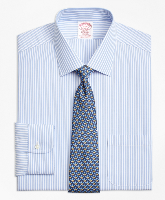 Stretch Madison Relaxed-Fit Dress Shirt, Non-Iron Music Stripe Blue