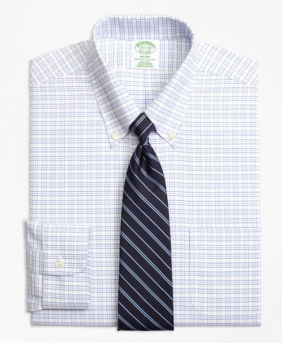 BrooksCool® Milano Slim-Fit Dress Shirt, Non-Iron Triple Windowpane Blue