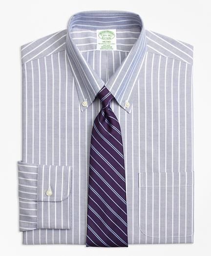 BrooksCool® Milano Slim-Fit Dress Shirt, Non-Iron Ground Shadow Stripe