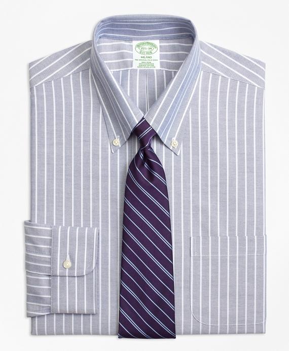 BrooksCool® Milano Slim-Fit Dress Shirt, Non-Iron Ground Shadow Stripe Navy