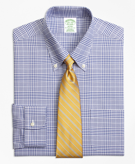 BrooksCool® Milano Slim-Fit Dress Shirt, Non-Iron Plaid