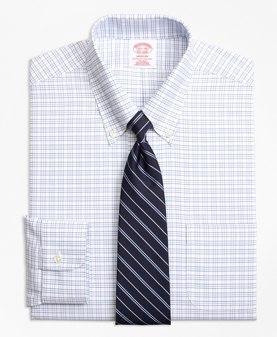 BrooksCool® Madison Classic-Fit Dress Shirt, Non-Iron Triple Windowpane Blue