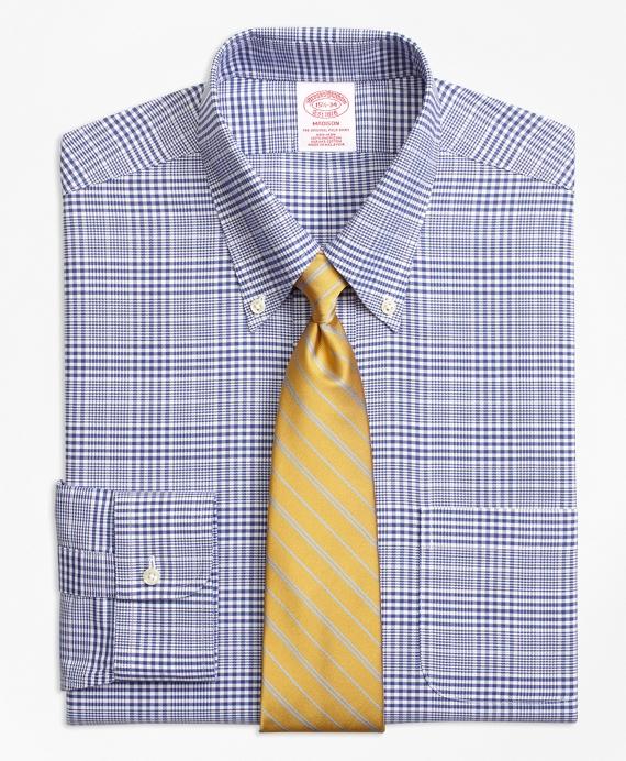 BrooksCool® Madison Classic-Fit Dress Shirt, Non-Iron Plaid Navy
