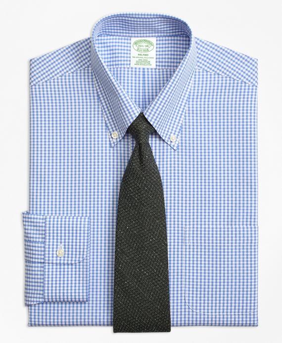 Milano Slim-Fit Dress Shirt, Non-Iron Dobby Gingham Blue