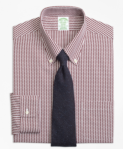Milano Slim-Fit Dress Shirt, Non-Iron Dobby Gingham