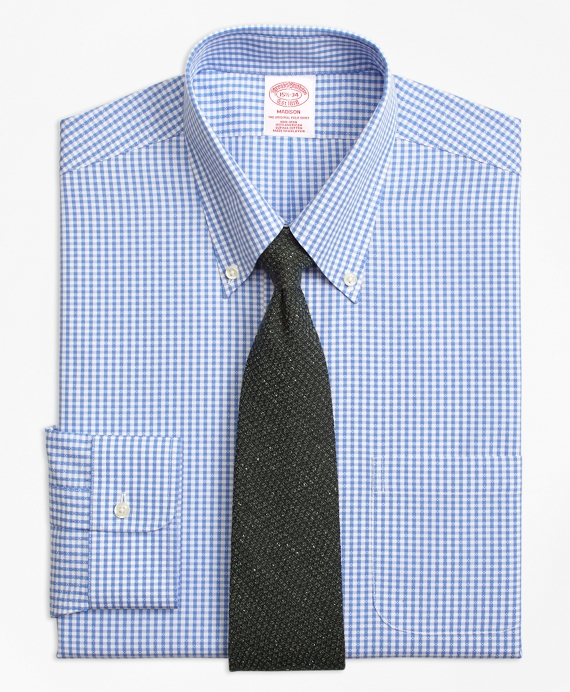 Madison Relaxed-Fit Dress Shirt, Non-Iron Dobby Gingham Blue