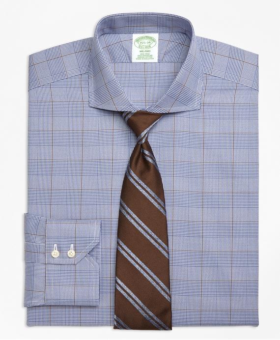 Milano Slim-Fit Dress Shirt, Non-Iron Large Plaid Blue