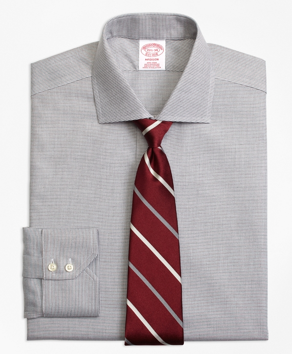 Madison Classic-Fit Dress Shirt, Non-Iron Houndstooth Grey