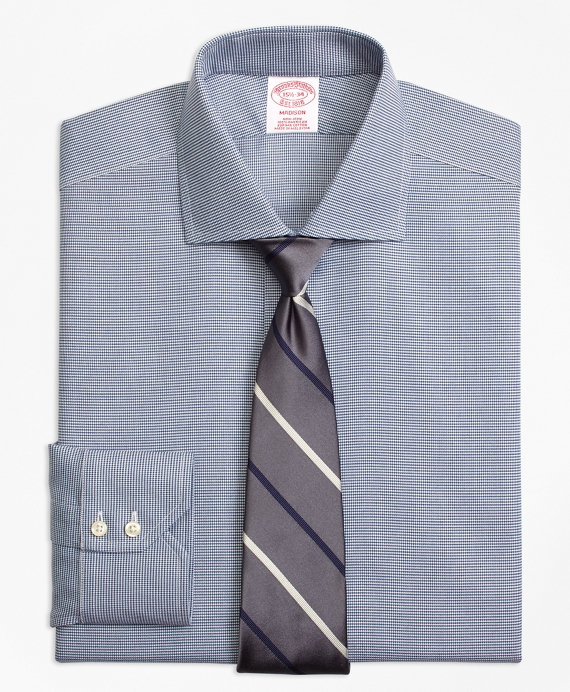 Madison Relaxed-Fit Dress Shirt, Non-Iron Houndstooth Navy