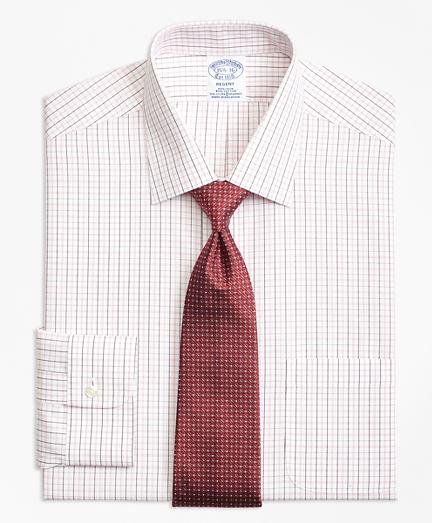 Regent Fitted Dress Shirt, Non-Iron Double Split Windowpane