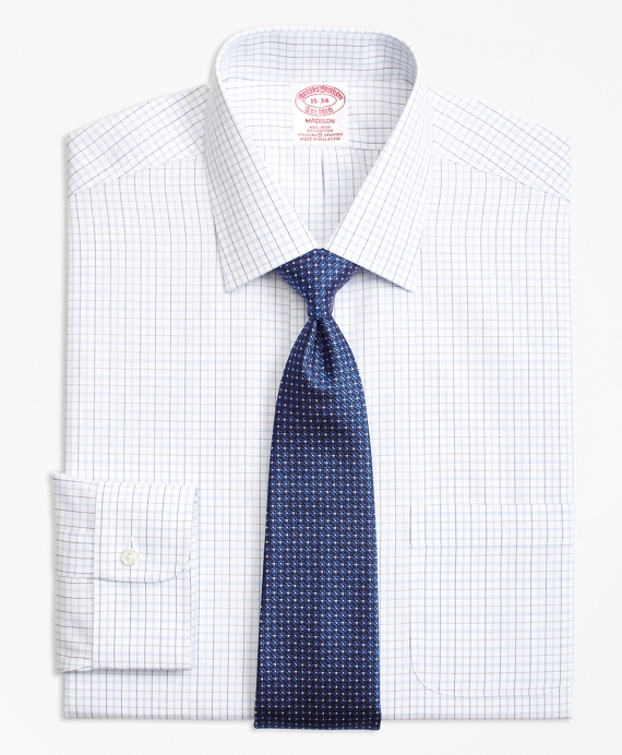 Madison Classic-Fit Dress Shirt, Non-Iron Double Split Windowpane Blue