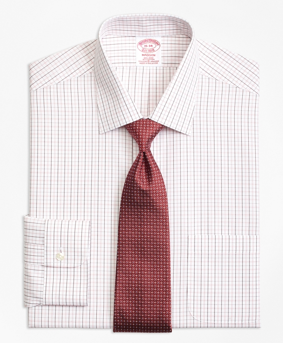 Madison Relaxed-Fit Dress Shirt, Non-Iron Double Split Windowpane Burgundy