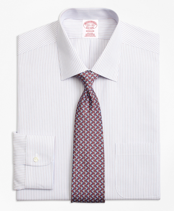 Madison Relaxed-Fit Dress Shirt, Non-Iron Triple Stripe Burgundy