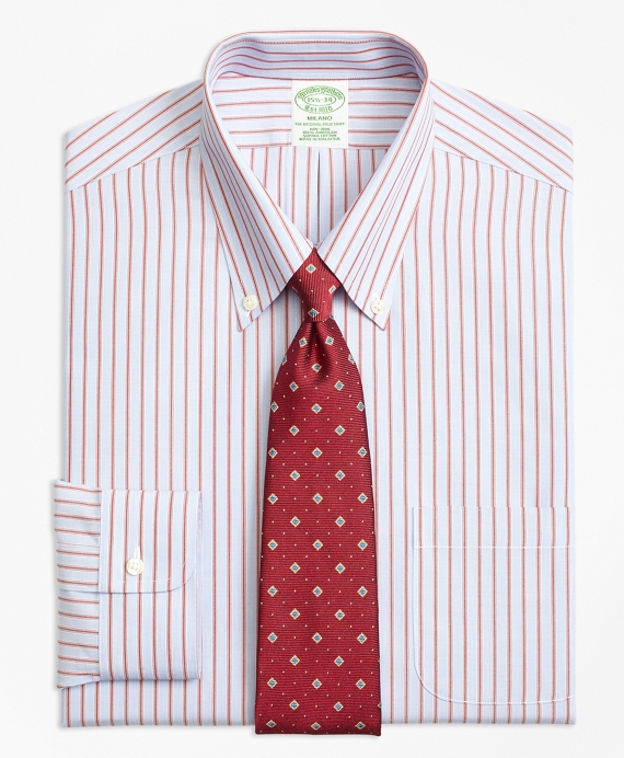 Milano Slim-Fit Dress Shirt, Non-Iron Split Stripe Burgundy