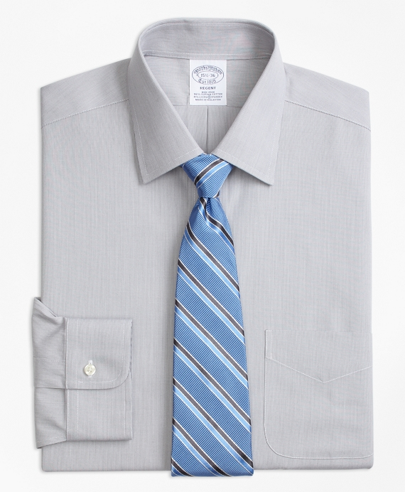 Stretch Regent Fitted Dress Shirt, Non-Iron Hairline Stripe Grey