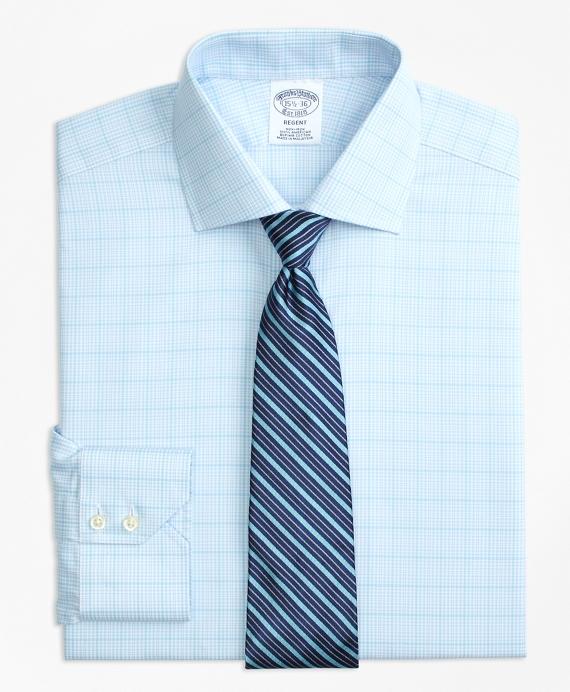 Regent Fitted Dress Shirt, Non-Iron Houndstooth Overcheck Aqua