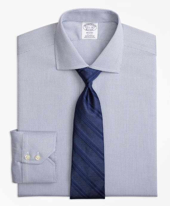 Regent Fitted Dress Shirt, Non-Iron Textured Solid Blue