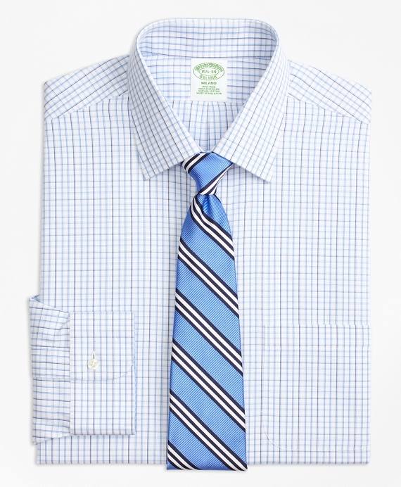 Milano Slim-Fit Dress Shirt, Non-Iron Tonal Check Windowpane Blue
