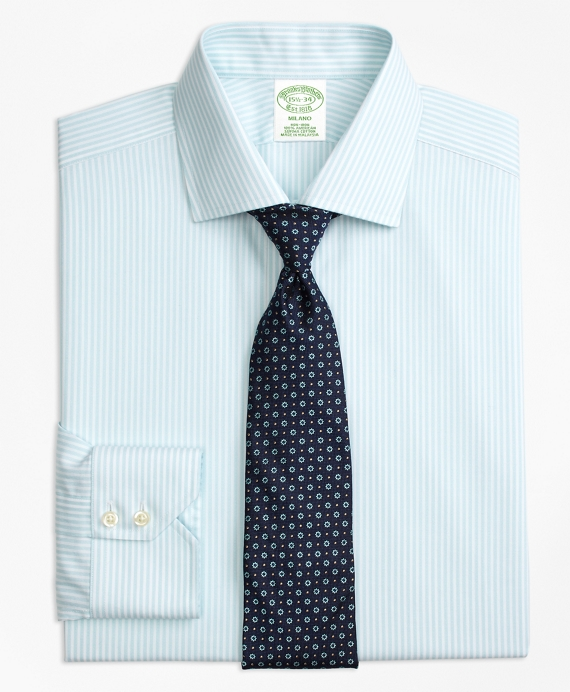 Milano Slim-Fit Dress Shirt, Non-Iron Stripe Aqua