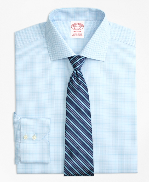 Madison Classic-Fit Dress Shirt, Non-Iron Houndstooth Overcheck Aqua