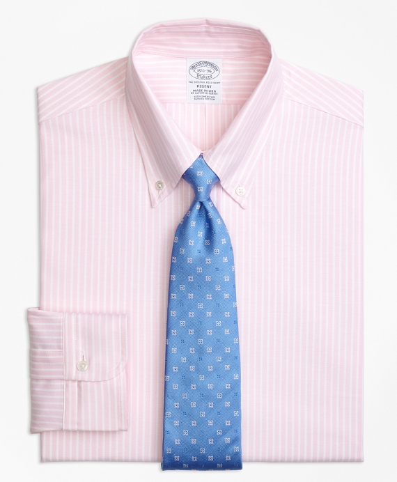 Original Polo® Button-Down Oxford Regent Fitted Dress Shirt, Ground Stripe Light Pink