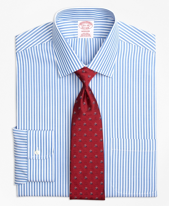 Madison Relaxed-Fit Dress Shirt, Non-Iron Tonal Bengal Stripe Blue