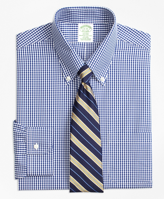 Stretch Milano Slim-Fit Dress Shirt, Non-Iron Gingham Navy