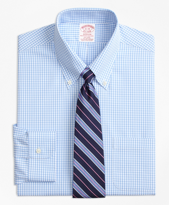 Stretch Madison Classic-Fit Dress Shirt, Non-Iron Gingham Light Blue