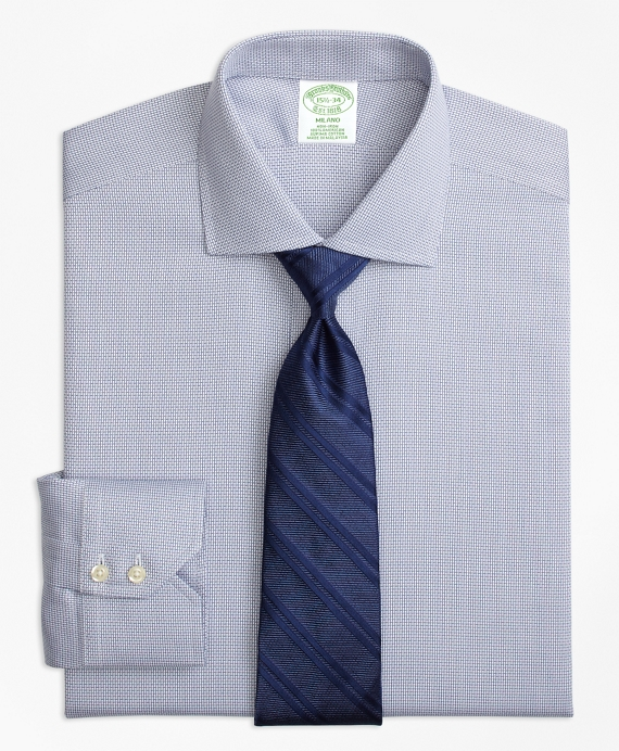 Milano Slim-Fit Dress Shirt, Non-Iron Textured Solid Blue