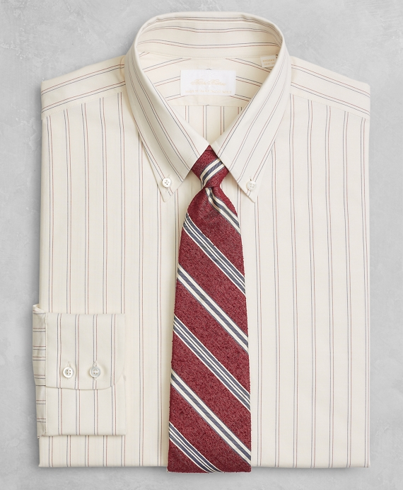 Golden Fleece® Milano Slim-Fit Dress Shirt, Button-Down Collar Dobby Split Stripe Ecru