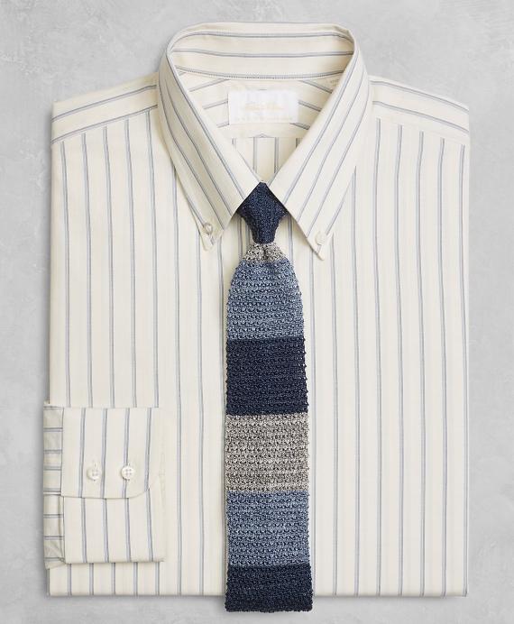 Golden Fleece® Milano Slim-Fit Dress Shirt, Button-Down Collar Double-Twin Stripe Ecru